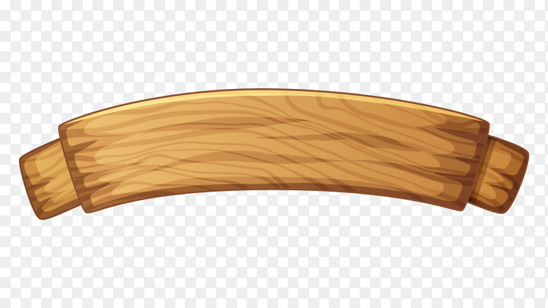 Wooden banner on transparent PNG
