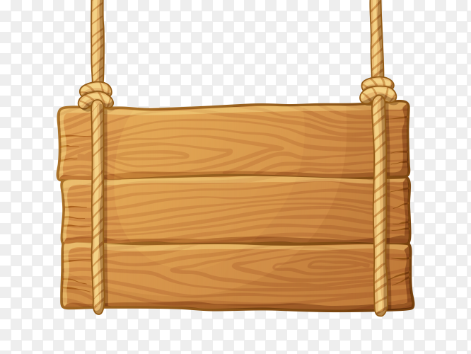 Wooden board on rope on transparent background PNG