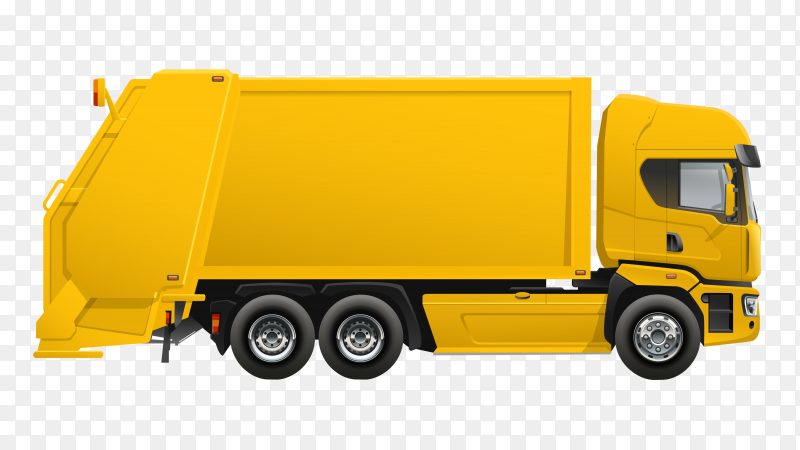 Yellow Garbage truck design illustration on transparent background PNG