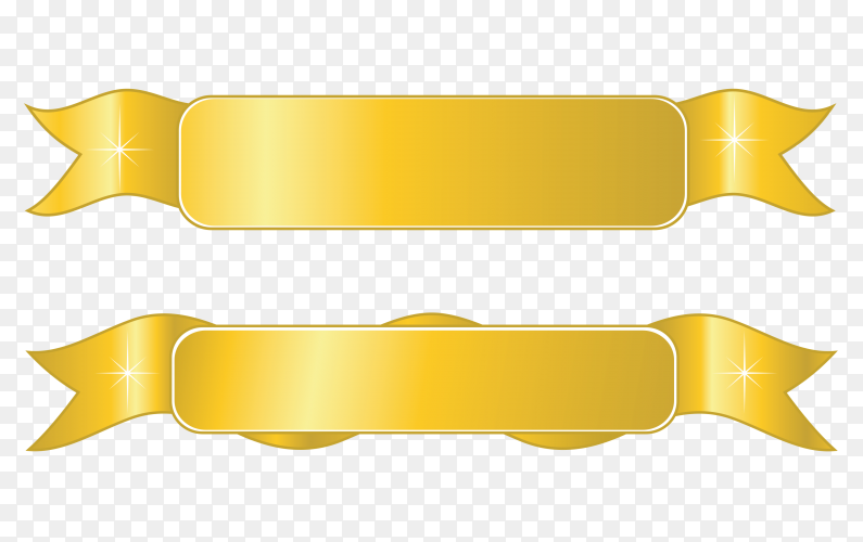 Yellow Ribbons banners on transparent background PNG