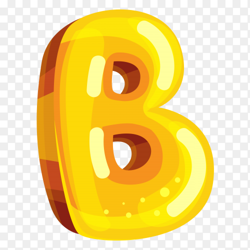 Yellow color shaped B letter on transparent background PNG