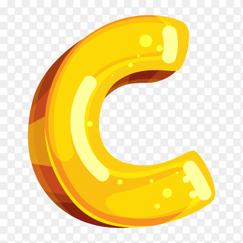 Yellow color shaped C letter on transparent background PNG