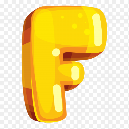 Yellow color shaped F letter on transparent background PNG