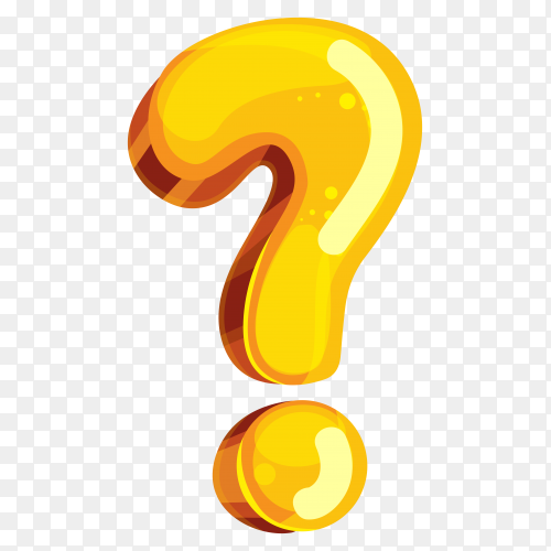 Yellow color shaped Question Mark on transparent background PNG