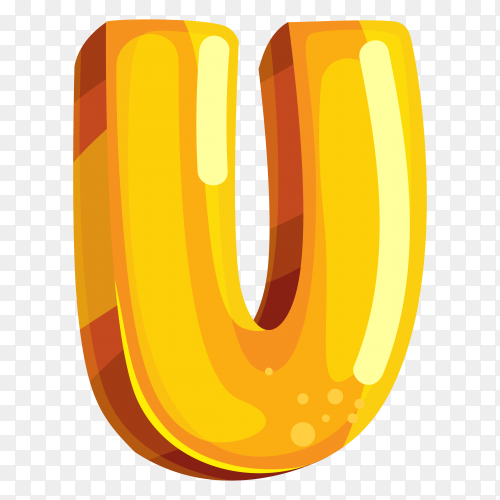 Yellow color shaped U letter on transparent background PNG