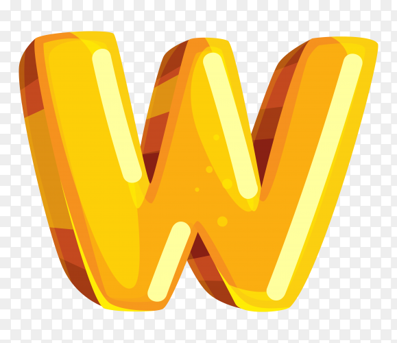 Yellow color shaped W letter on transparent background PNG