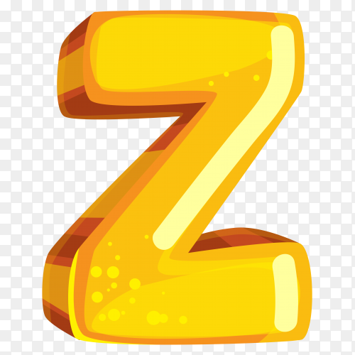 Yellow color shaped Z letter on transparent background PNG