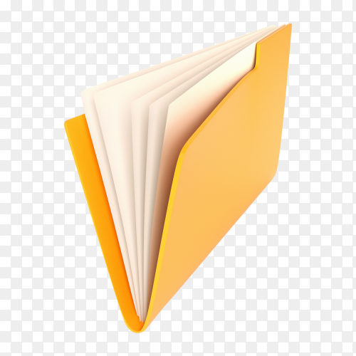 Yellow folder white illustration on transparent background PNG