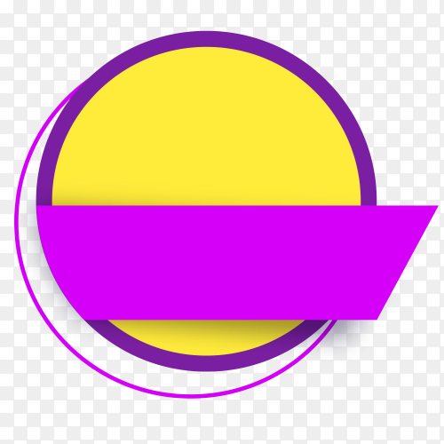 Yellow round banner with purple ribbon on transparent background PNG