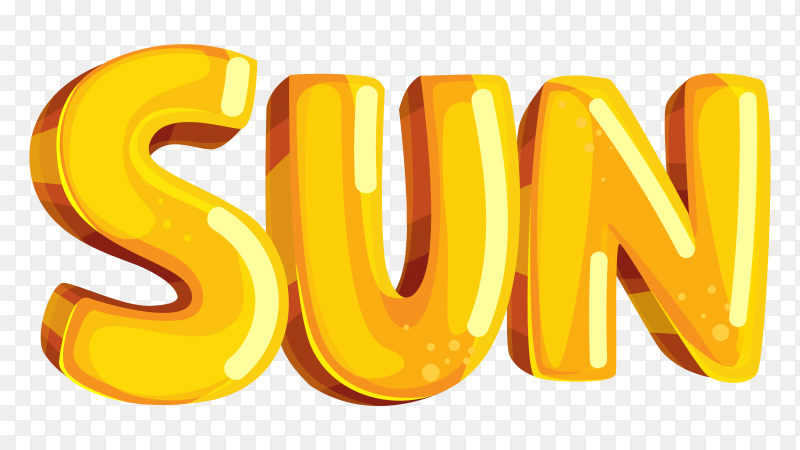 Yellow sun lettering on transparent background PNG