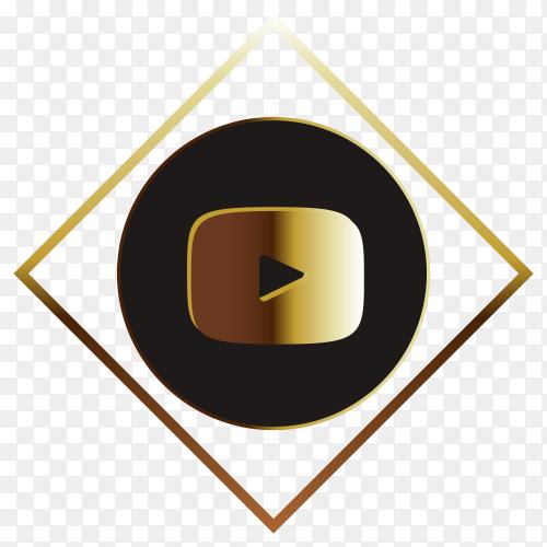 Youtube golden logo on transparent background PNG