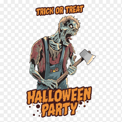 Zombie halloween party on transparent background PNG