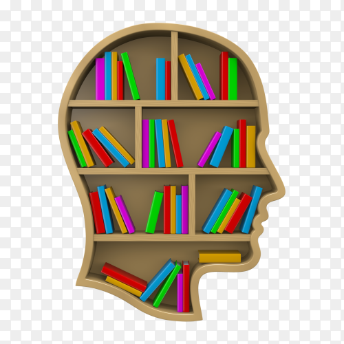Bookshelf shaped human head on transparent background PNG