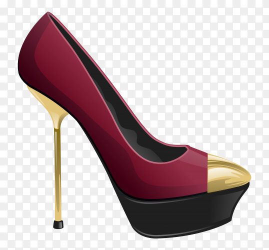 Woman fashion shoes on high heels on transparent background PNG