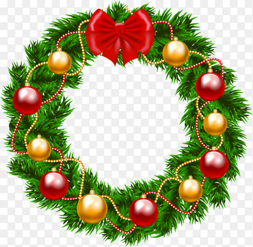 Christmas wreath on transparent background PNG