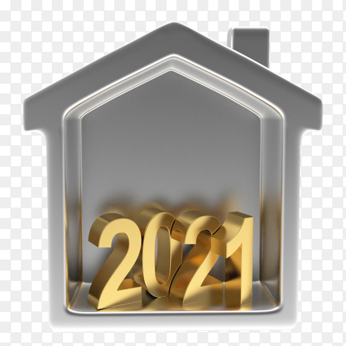 2021 Numbers in silver house icon on transparent background PNG