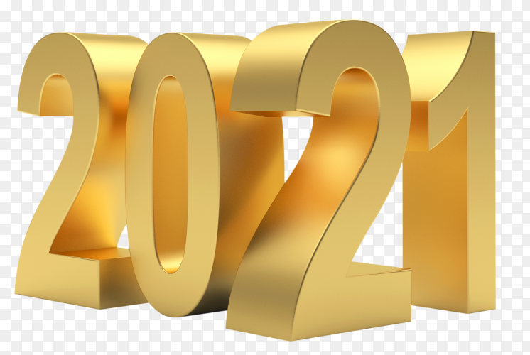 2021 golden bold letters high quality isolated on transparent background PNG