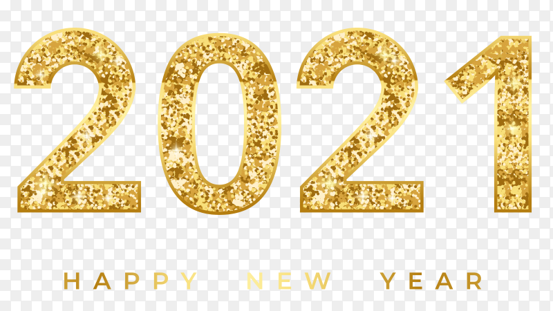 2021 happy new year with golden 3d numbers on transparent background PNG