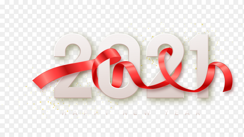 2021 Happy New Year With White Numbers And A Red Ribbon On Transparent Background Png Similar Png