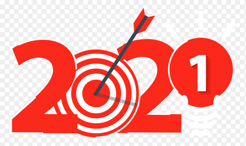 2021 new year design with light bulb ideas on transparent background PNG