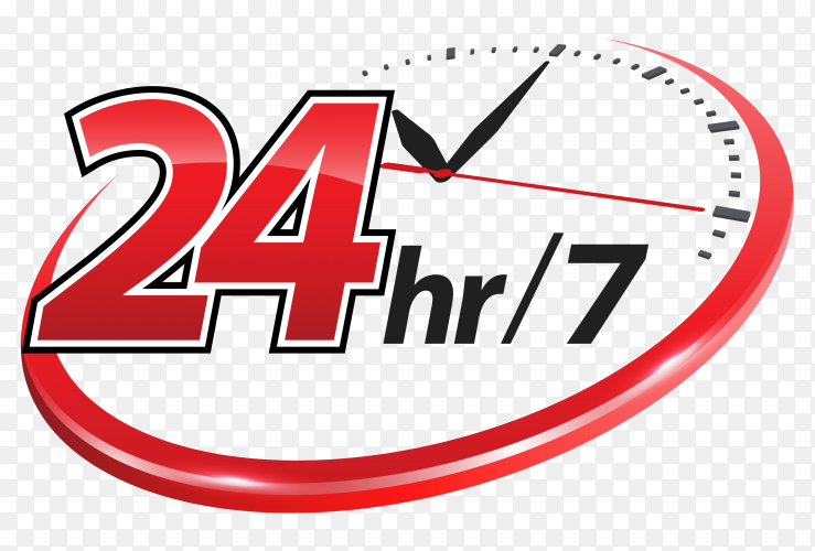 24hr services with clock scale on transparent background PNG