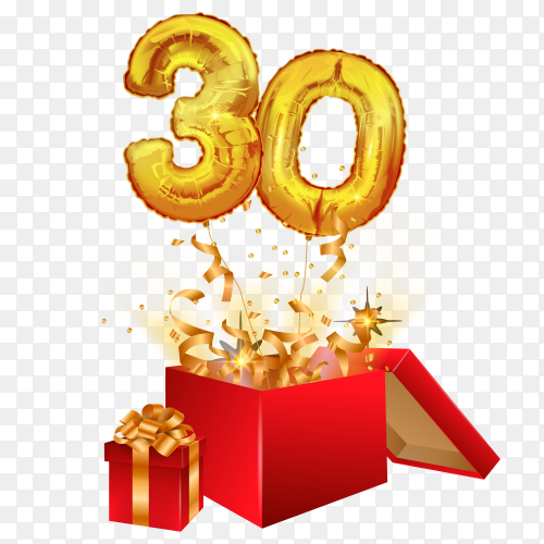 30 years of golden balloons with sparkling confetti fly out of the box on transparent background PNG