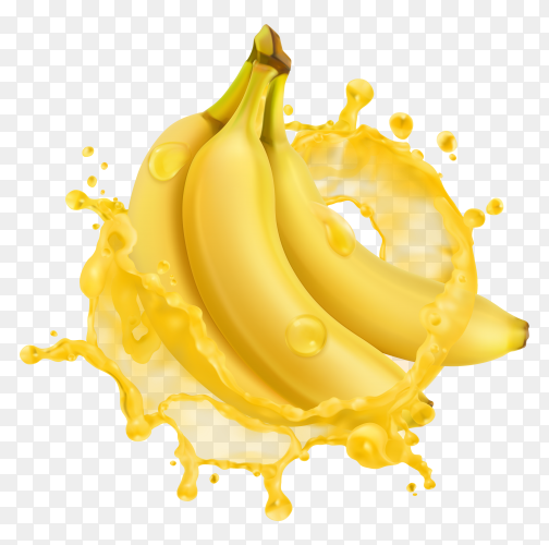 3D Banana in fresh juice splash premium vector PNG