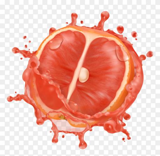 3D Grapefruit in juice splash on transparent background PNG