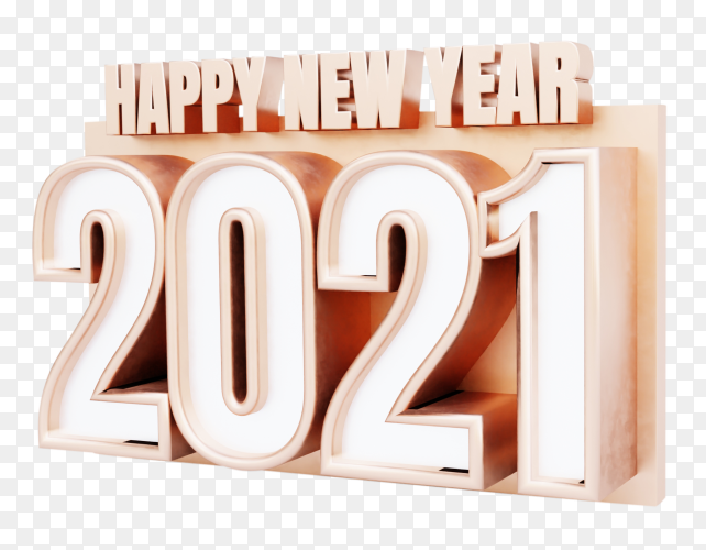 3D Happy new year 2021 with golden letters on transparent background PNG