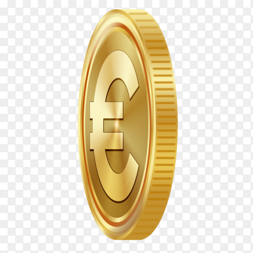 3D gold euro coin premium vector PNG