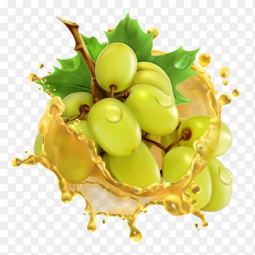3D green Grape with juice splash premium vector PNG