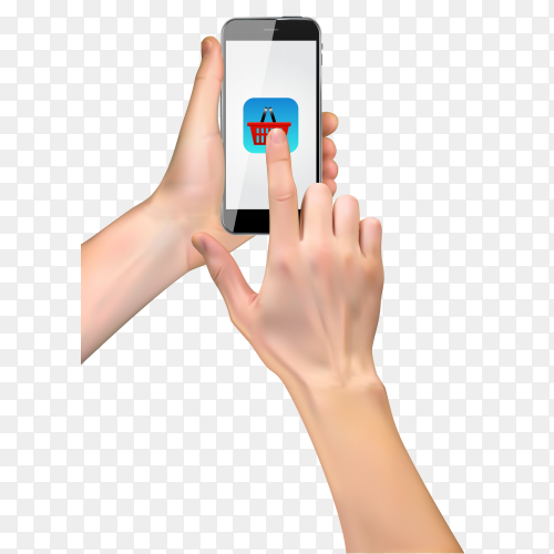 3D hand holding smart phone and click on shopping icon on transparent background PNG