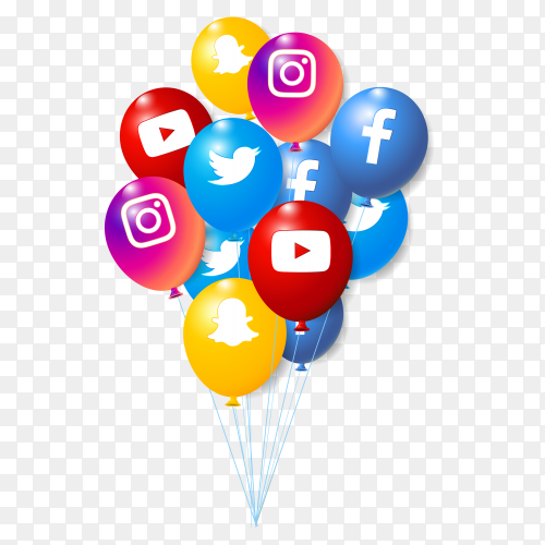 3D social media balloons collection for banner design on transparent background PNG
