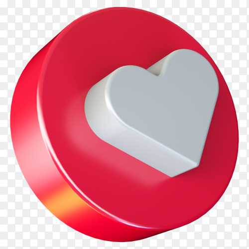 3D social media love button icon on transparent background PNG