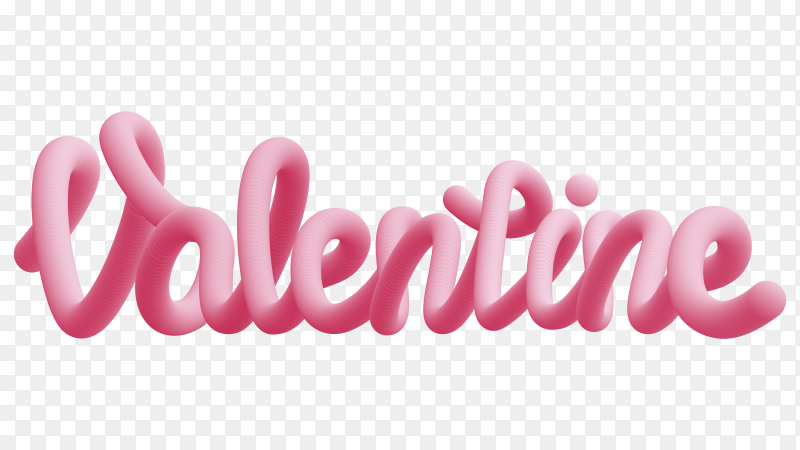 3D valentines day text premium vector PNG