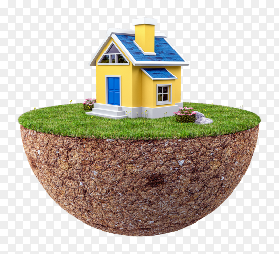 3d floating island with small house on transparent background PNG
