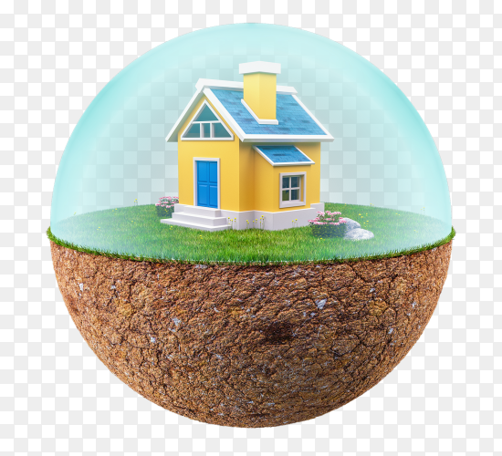 3d floating island with small house premium vector PNG