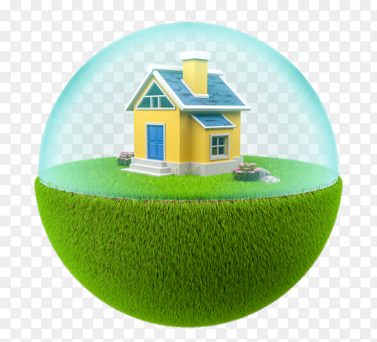 3d green floating island with small house on transparent background PNG