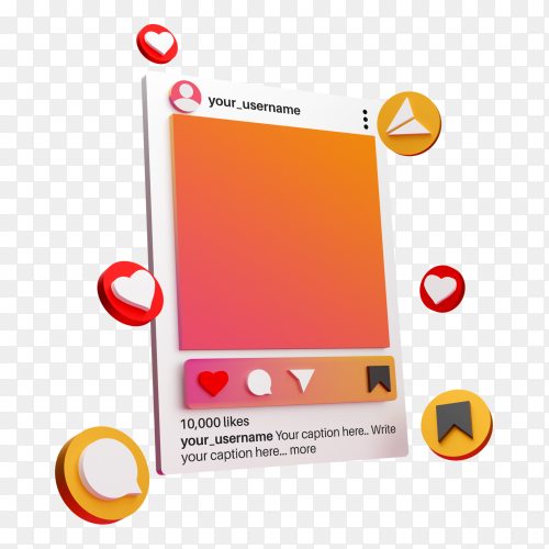 3d instagram social media post on transparent background PNG