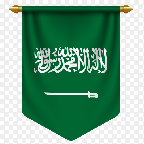 3d realistic pennant with flag of saudi arabia on transparent background PNG