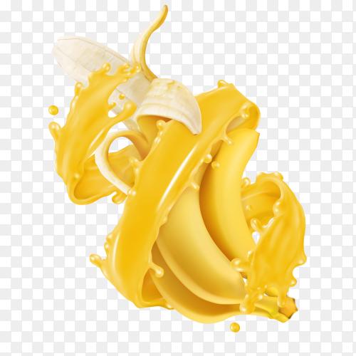 3D realistic tropical bananas in splashes of juice Premium vector PNG