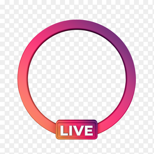 3d social media icon avatar live streaming on transparent PNG