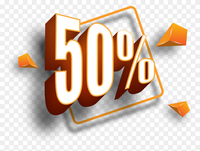 50% sale style illustrations on transparent PNG
