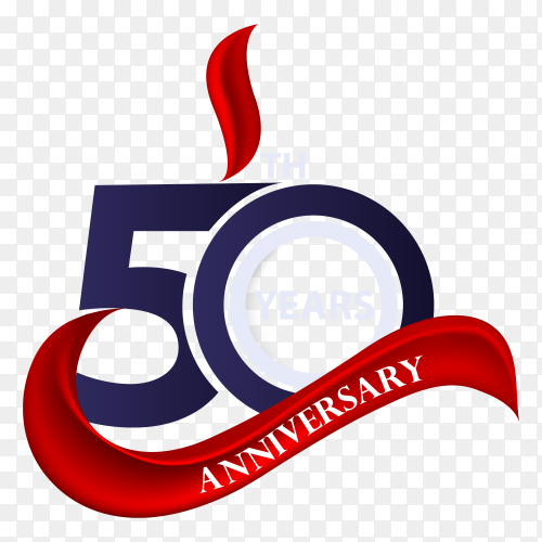 50th anniversary sign and logo celebration symbol with red ribbon on transparent background PNG