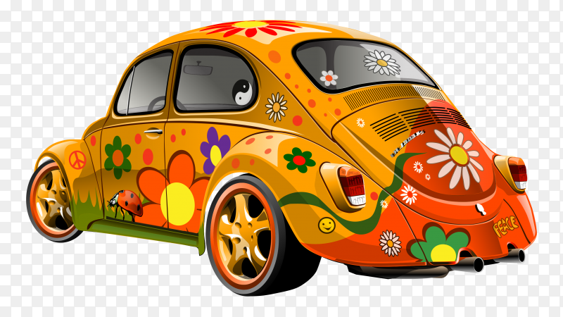 Hand drawn car with flowers illustration on transparent background PNG