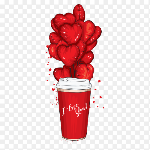 A glass of coffee with balloons in the shape of hearts on transparent PNG