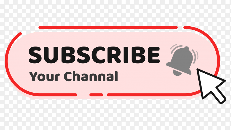 A hand mouse cursor clicks on the subscribe button isolated on transparent background PNG