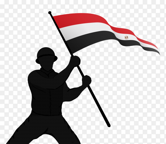A soldier raising the egypt flag on transparent background PNG