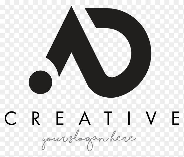 AD Letter Logo Design with Modern design on transparent background PNG