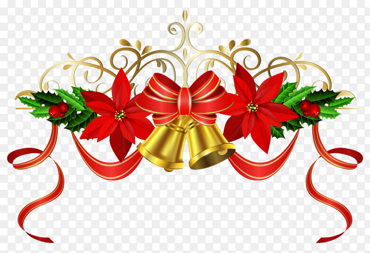 Abstract Christmas decoration with balls and bells premium vector PNG